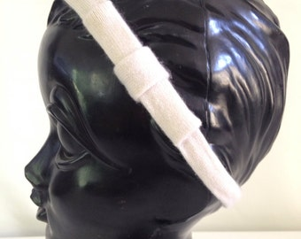 50% OFF CLEARANCE-Recycled Cashmere Headband: White with a White Bow