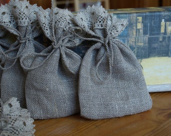 """Natural Grey Linen Favor Bags with Lace 3 1/2""""x6"""" Set of 10"""