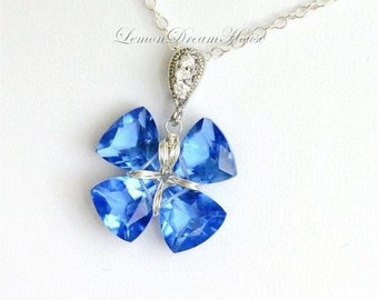 Gemstone Lucky Clover Necklace, Blue Quartz Trillion Cut Bead, Sterling Silver Chain, Silver Bail with Cubic Zirconia. Nature Inspired. N029