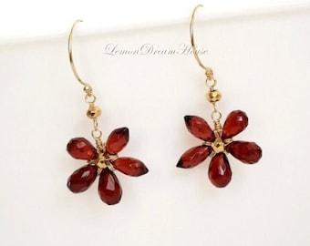 January Birthstone Earrings, Gemstone Flowers, Mozambique Garnet Drop, Rhodolite Garnet Chandelier Brioliettes, Gold-filled Earwires. E159.