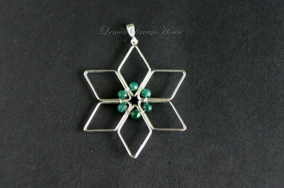 Clearance. May Birthstone Pendant, Ornament, Sterling Silver Snowflake Frame, Emerald Faceted Rondelle, Sterling Bai. Nature Inspired. PB009