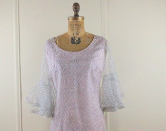 avant garde, 1960s Pink Satin and Metallic Silver Lace Shift Dress with Flutter Sleeves - size medium to large