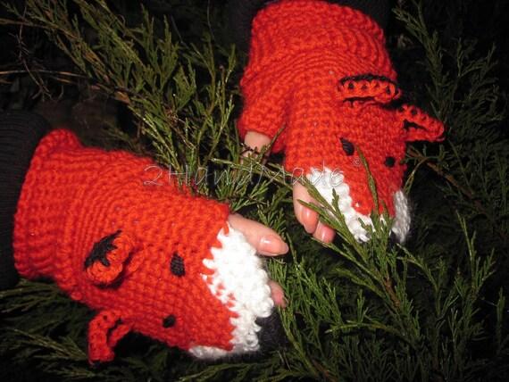 FOX FINGERLESS GLOVES Mittens Gift Wool Crochet Winter Woman Girl Teens Cozy Ginger Red Forest Animals Woodland Puppet
