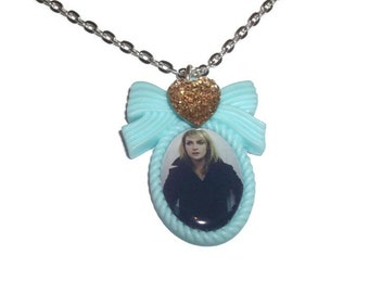Emily Haines Necklace, Metric, Pastel Mint Green Sparkly Cameo Necklace