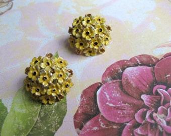 Enamel Earrings Yellow Flowers Clip On Wedding Bridal Fashion Jewellery Vintage