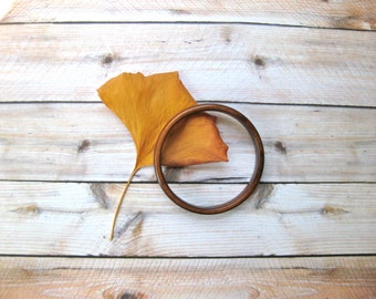 Vintage Wood Bangle Bracelet Brown Round Boho Festival fashion Gift for woman