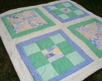 "45"" x 45"" Baby Quilt with Yellow, Green and Blue Prints.  Eore, Piglet, Light Yellow Polka Dot Minky Back and Trim."