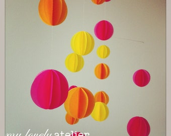 Colorful paper mobile, Indian summer, pink, yellow and orange