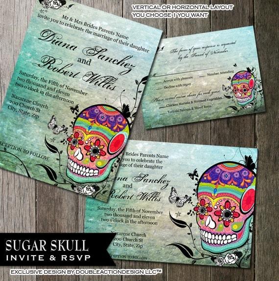 sugar skull wedding invitation and rsvp stationery muerte, Wedding invitations