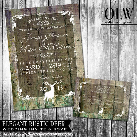 Rustic Wedding Invitation Suite - Deer, Wood, Fall, Hunter- Digital Invitation, RSVP card