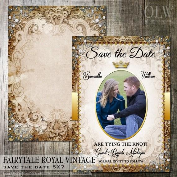 Royal Themed Wedding Ideas: Vintage Fairytale Royal Wedding Save The Date By