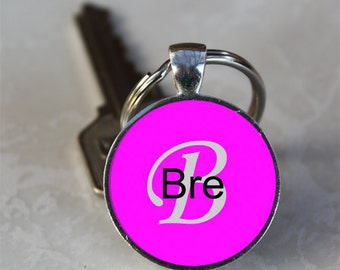 Bre Name Monogram Handcrafted Glass Dome Keychain (GDNKC0361)