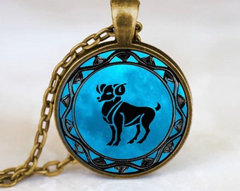 Aries Pendant, Aries Necklace, Aries Jewelry, Aries Charm Bronze (PD0345)