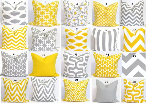 YELLOW GRAY Pillow SALE. Pillows.16x16 inch Pillow Covers.Cushion Covers.Printed Fabric Front and Back.zigzag.Housewares.Home Decor