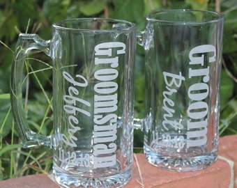 2 Personalized Groomsman Gift, Etched Beer Mug.  Great Bachelor Party Idea,Groomsmen,Best Man,Father of Bride or Groom Gift