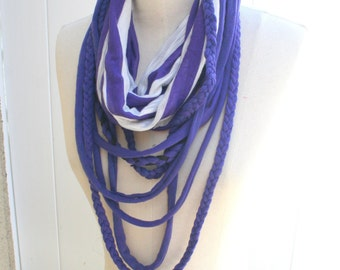 T-Shirt Necklaces Scarf Boho Scarf  Retro Scarf Purple White Scarf- By PIYOYO