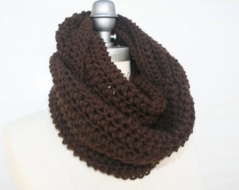 Hand Knit Scarf, Brown Infinity Scarf , Brown Hand Knitted  Scarf  ,Womens Gifts Scarves-  By PIYOYO