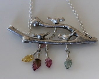 birds on a  branch necklace w / carved tourmaline leaf gemstones / tiny silver sparrows / metalwork fine silver artisan jewelry by grilthree
