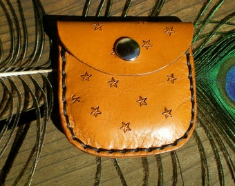 small handmade leather coin purse