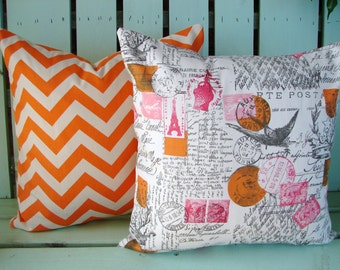Set of 2 18X18 orange,natural, pink,grey Amore Twill Sherbet and chevron print fabric- decorative pillow cover-throw pillow-accent pillow