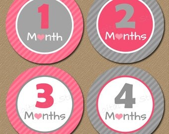 Monthly Baby Stickers Printable Onepiece Stickers Iron On Transfers - INSTANT DOWNLOAD - Photo Prop Milestone Baby Shower Gift - Pink Grey