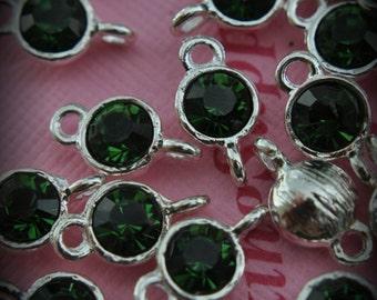 Green Turmaline Large Genuine Sterling Silver Plated Swarovski Crystal Connectors Link U100