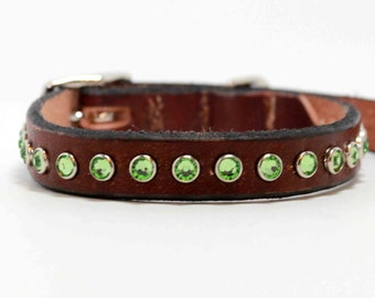 Small Leather Dog Collar with Green Swarovski Crystals