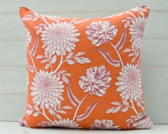 Orange Floral Cushion Cover -  Linen Cotton Mix Fabric - Made in the UK