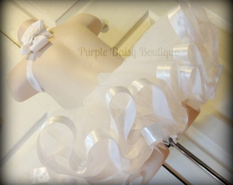 White Satin Ribbon Edged Tutu  with Matching Bow- Full and Beautiful, Perfect for Pictures