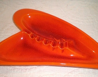 Royal Haeger Orange Leaf Ash Tray And Second Orange Leaf Bowl