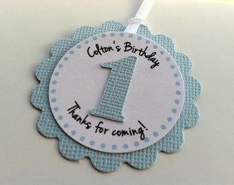 20 Baby Blue First Birthday Favor Tag.  Personalized Tags.  Birthday Favor Tags.  Party Favors.