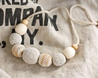Forest Nymph Crochet Necklace - Nursing Necklace, Teething Necklace, Babywearing, Breastfeeding, Wood Jewelry, Crochet Jewelry - FrejaToys