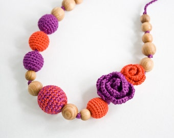 Roses Nursing Necklace - Teething Necklace, Babywearing - Orange, Purple - Teething Jewelry, Mother's day - FrejaToys