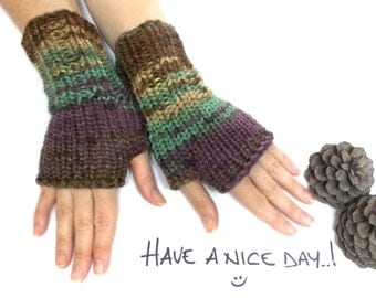 Fingerless glove,  Fingerless mittens, Wrist warmers, Knit gloves, Brown, green, yellow, purple