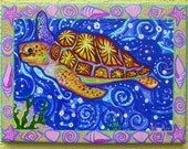 Sea Turtle  painting , giclee on canvas by Kim McCoy