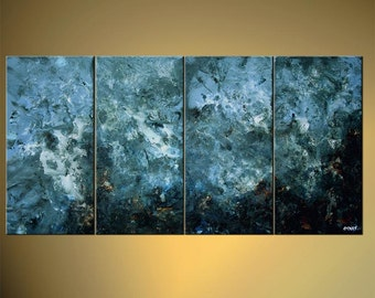 "Blue Abstract Painting - Original Modern Textured Heavy Impasto Acrylic Painting on Canvas by Osnat - MADE-TO-ORDER - 60""x30"""
