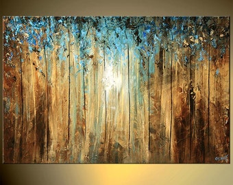 """Abstract Landscape Tree Painting Deep Forest Blue Teal Brown Rust acrylic Painting by Osnat - 36""""x24"""" MADE-TO-ORDER"""