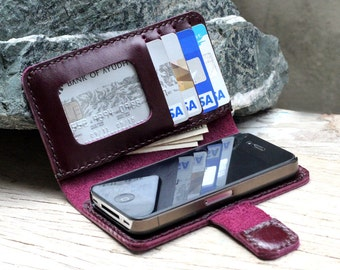 iPhone4/ Megnetic and ID window Purple leather iPhone wallet