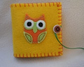 Yellow Owl Embroidered Felt Needle/Pin Case