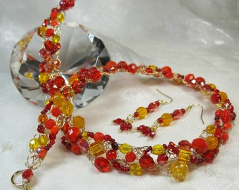Wire Crochet Beaded Necklace Set in Red, Orange and Yellow, handmade bead jewelry