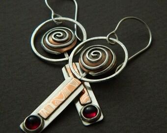 Mixed metal jewelry mixed metal earrings with mokume gane and garnet tribal