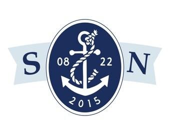 Nautical Chic Wedding Logo Design - DIY, Monogram, Anchor, Navy, Blue, Beach, Destination