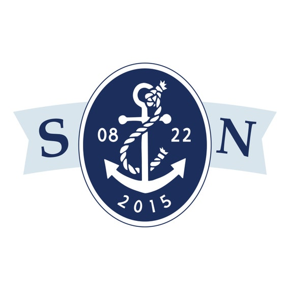 Nautical Chic Wedding Logo Design - DIY, Monogram, Anchor, Navy, Blue, Beach, Destination