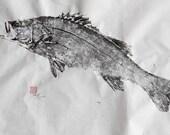 Japanese Sea Bass (hira-suzuki) original GYOTAKU - traditional Japanese fish art
