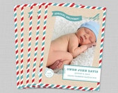 Birth Announcement Airmail Non Traditional Printable
