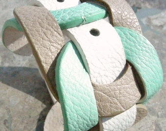 White, Taupe, Robbins Egg Blue Leather Bracelet Weaved Reclaimed Cuff with Snap D-72-3