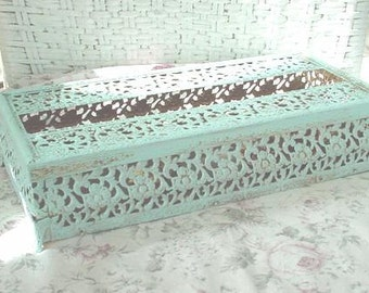 Vintage Filigree Tissue Box Painted French Blue