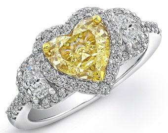 Heart Shape Fancy Intense Yellow Diamond Engagement Ring 3.05 Ct 18K Gold