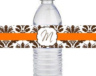 DIY Black Brown Orange Red Blue Damask  Water Bottle Labels -  You Print