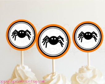 DIY Printable Spider Halloween Cupcake Toppers / Party Circles